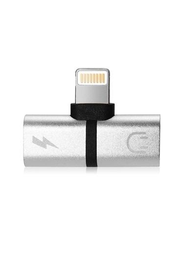 Jacobson iPhone Lightning Splitter 2in1 Şarj Ve Kulaklık Birleştirici Gümüş